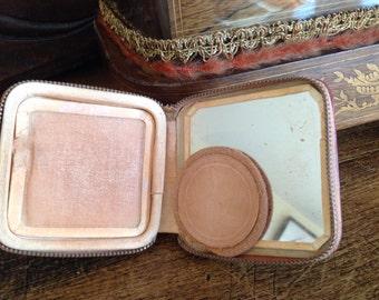 Vintage make up-Leather powder box-Used Powder Box Zipper-bohemian-purse-costume decor-vintage-home decor-rare finds- wedding- actrice-cheek