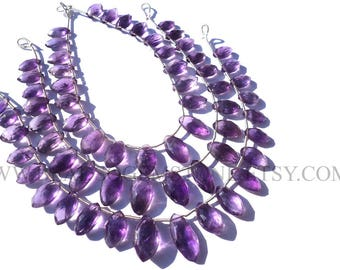 Amethyst (African) Faceted Marquise (Quality A+) / 5x10 to 8x14 mm / 18 cm / AMET-074