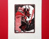 Greetings from the Krampus linocut print