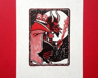 Greetings from the Krampus linocut print