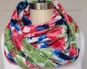 Wide Infinity Scarf - Knit Red and Blue Floral