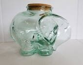 Vintage Large Blue Green Italian Glass Elephant Jar