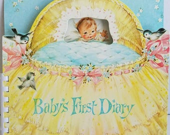Vintage Unused 1960 Baby's First Diary Baby Book....Adorable!