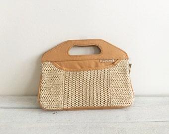 Vintage clutch, tan purse, cream, woven, 70s,