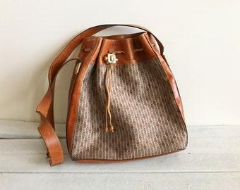 vintage judith leiber monogram bucket bag, canvas and leather, gold hardware