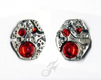 Industrial Steampunk STUD Earrings ~ Wristwatch Plates w/ Siam Red Rhinestones ~ Resin Coated ~ Stainless Steel Posts & Bullet Backs #E0926