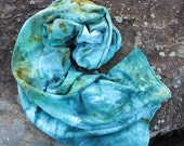 Hand Dyed Fleece Scarf, Extra Long Scarf,  Bamboo FLeece Scarf, Watermarkd Teal Olive Gold and Blue (raw edges)