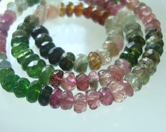 """13"""" Strand, 4-5 mm, Organic Hand Cut, Gorgeous Sparkling Green Pink Mix Tourmaline Faceted Rondelles Beads, TR01"""