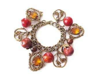 Vintage Chunky Amber Orange Glass Lucite Charm Bracelet - Confetti Lucite, Flower Charms, Vintage Bracelet, Vintage Jewelry