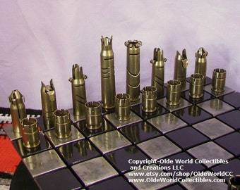 50 CALIBER BULLET shell chess pieces Version-1.   Optional welded steel board   -Free Shipping to U.S.