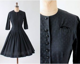 Vintage 1950s Matte Black Cotton Day Dress