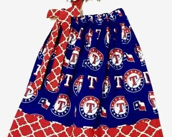 Custom Boutique handmade Texas Rangers Baseball Pillowcase Dress