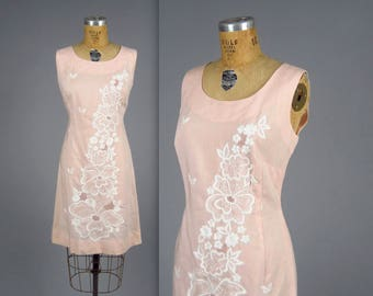 1960s pink sheath dress • vintage 60s embroidered dress • garden party day dress