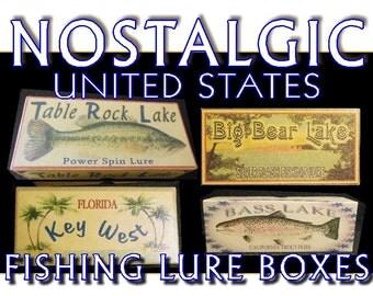 lake house decor cabin trout michigan minnesota gift personalized fishing lure boxes