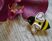 Bumble Bee Pin, Brooch, Fused Glass, Brooch Pin, Hand Painted, Gardeners Gift, Bee Keepers Gift, Bee Jewelry