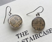 Silver Tone Dangle Earrings Vintage Library Book Card Charm