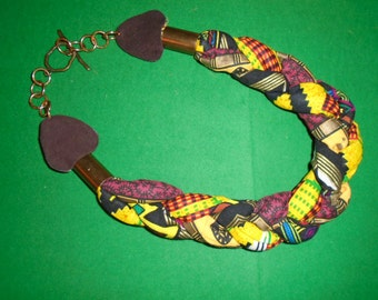 Bright African  Print Ethnic Design Handmade Braid Necklace