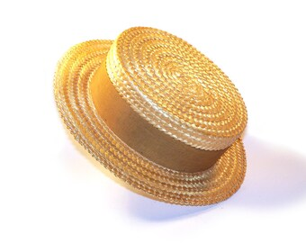 Super Quality Gold Bond Hat Vintage 1920s  Straw Boater Skimmer Men's Antique Hat with Gold Silk Ribbon and Sweatband Size 7-1/4