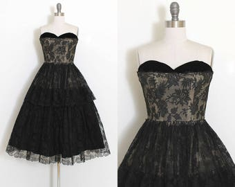 Vintage 50s Dress | 1950s black lace dress | strapless tiered skirt cocktail | xs | 3723