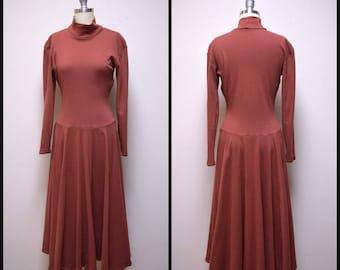 Vintage BETSY JOHNSON Mocha Brown Cotton Knit Skater Drop Waist Dress Size M