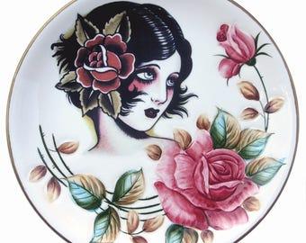 """Rose, Vintage Tattoo Flash Portrait Plate 10.9"""""""