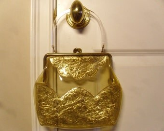 "Vintage 1960's  Clear Vinyl Handbag w/Gold ""Spaghetti"" Design & Lucite Handle"