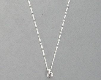 Rhodium Initial b Necklace