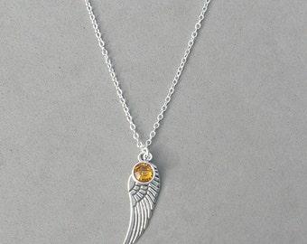 November Birthstone and Angel Wing- Topaz Swarovski Drop Necklace