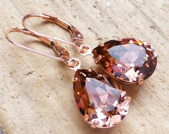 Blush Rose Earrings, Swarovski 14K Rose Gold Filled Leverbacks, Vintage Pink Rhinestone Teardrop Crystals, Bridesmaid Gifts, Bridal Jewelry