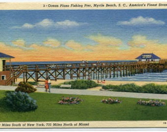 Ocean Plaza Fishing Pier Myrtle Beach South Carolina linen postcard