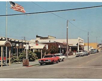 Franklin Street Cars Post Office Fort Bragg California postcard
