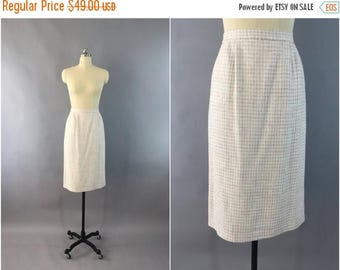 SALE - Vintage 1980s Pencil Skirt / 80s Cream White Wool Skirt / Winter White / Pastel Houndstooth / Size Medium M