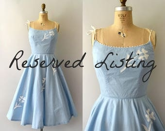 RESERVED LISTING -- 1950s Vintage Dress - 50s Light Blue Flower Sundress