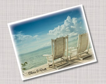 Custom Summer Beach Chairs Name Note Cards