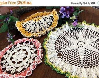 3 Large Crochet Doilies, Ruffled Borders, Hand Crocheted, Colorful Centerpieces 13339
