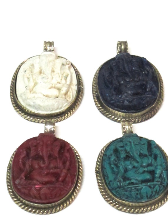 4 pendants - Green blue red and creamish white Oval shape Ganesha pendants handmade in Nepal - PS004G