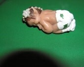 Polymer clay sculpt, Elf baby girl, handpainted, One of a Kind Sculpt, painted hair, diaper, socks,polymer clay baby, dollhouse baby,