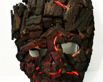 buring tree man LED lit cosplay mask