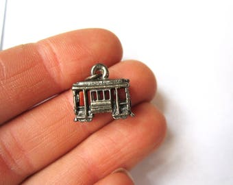 Vintage Trolly Car Sterling Silver Charm