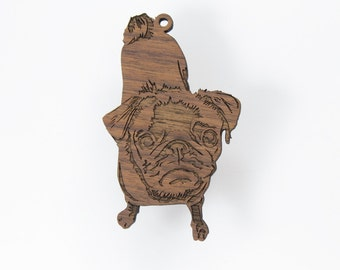 Cute Pug Ornament from Timber Green Woods. Made in the U.S.A! - Walnut Wood (Standing Pug) - Personalize it with Name Engraving!
