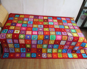 Big granny square afghan blanket, red, warm, wrap, colorful, handmade, retro, crochet, patchwork, bed cover, cozy