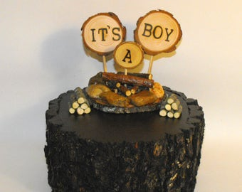 It's a Boy Campfire Baby Shower Cake topper, Camping theme Boy Gender Reveal sign, Woodland decoration, rustic camp, new baby camping