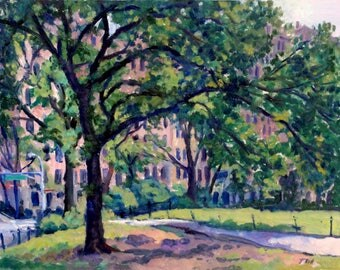 Central Park Shade, East Side NYC. 11x14 Oil on Panel, New York City Impressionist Plein Air Fine Art, Signed Original Oil Painting