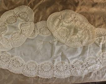 Set of 3 Ecru Linen Doilies with Crochet/ Tatted Trim