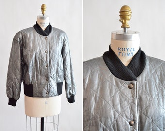 SALE / Vintage QUILTED metallic leather jacket