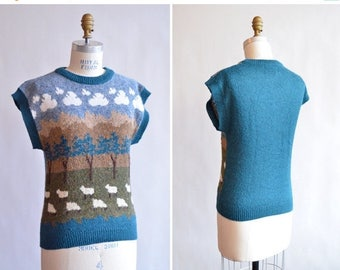 40% OFF / 3 days only / Vintage 1980s NATURE print knit sweater top