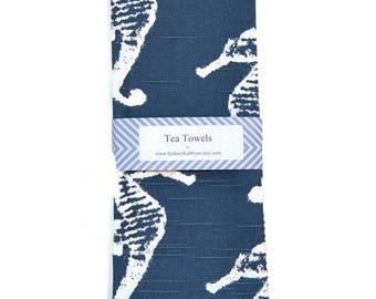 Tea Towel, Navy and White, Seahorse, Nautical Dish Towel, Set of 2, Decorative Kitchen Towel, Beach House Tea Towels, Blue and White