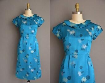 vintage 1950s dress. 50s blue satin Asian print vintage wiggle dress