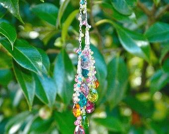 NEW Rainbow Quartz Tassel Necklace / Pink Topaz / Sterling Silver / Long / Lariat / Adjustable / Pink / Green / Blue / Orange / OOAK