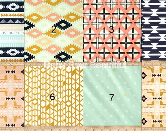 Custom Aztec Crib Bedding Set, Western Crib Bedding,Coral Aqua Bedding, Crib Bumper Set, Crib Rail Guard Set, Nursery Bedding